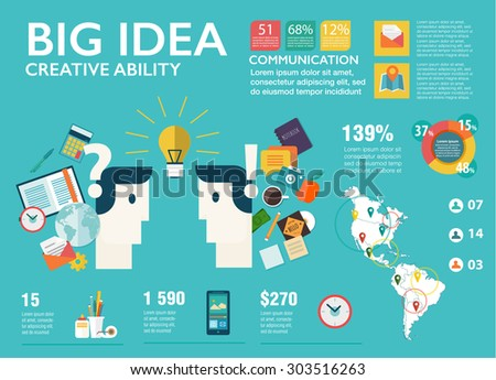 Big infographics set in modern flat style. Vector illustrations about of business people organization, big idea, creativity, human resource management, company seminar training, career progress. - stock vector