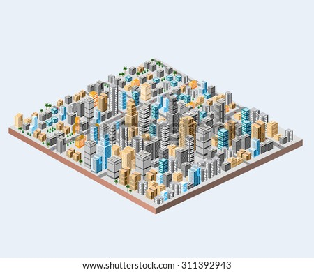 Big isometric city with hundreds of different houses, offices, skyscrapers, supermarkets and city streets with traffic. - stock vector