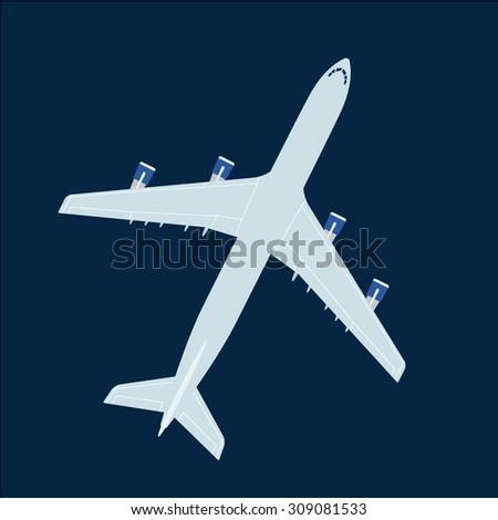 Big jet liner top view. Vector on dark blue background - stock vector
