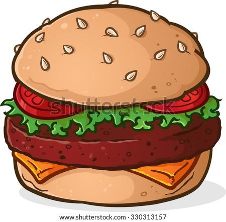 Big Juicy Delicious Hamburger Cartoon - stock vector