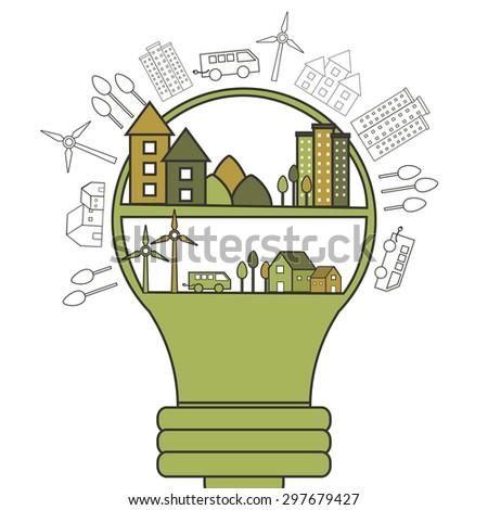 Big light bulb with illustration of buildings, trees, wind turbines and vehicles, Creative infographic elements set based on ecology and idea concept.  - stock vector