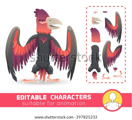 Big monster bird with huge beak and wings. Evil character. Suitable for animation, video and games. You can change color, position of body parts, dress and size. Vector illustration - stock vector