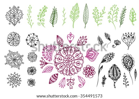 Big Nature hand drawn collection. Cute vector illustration with doodle flowers and leaves. For coloring page and design decoration. - stock vector