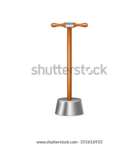 Big pestle with wooden handle - stock vector