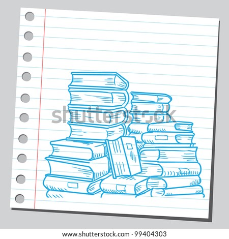 Big pile of books - stock vector
