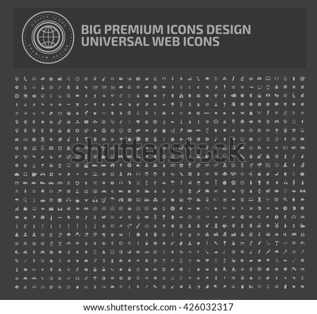 Big premuim icon set on clean background,vector - stock vector