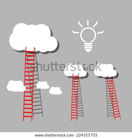 big red ladder from cloud with small white ones. goal setting business concept background  - stock vector
