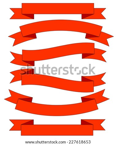 Big Red Ribbons Set, Isolated On White Background, Vector Illustration. - stock vector
