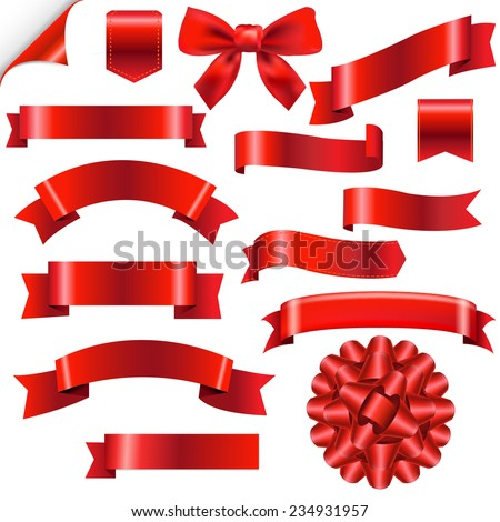 Big Red Ribbons Set With Gradient Mesh, Vector Illustration - stock vector