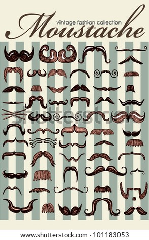 Big Retro Mustache Vintage Collection (Vector) - stock vector