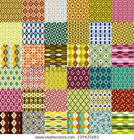 big retro pattern collection - stock vector