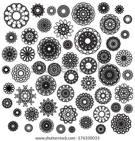 Big round ornament set. Vector spirographs - stock vector