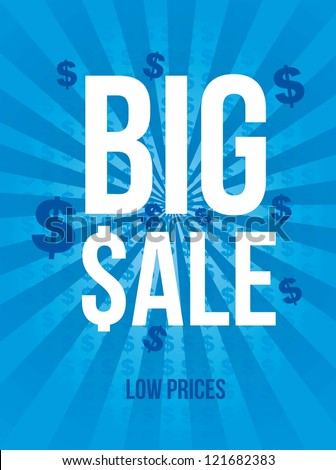 big sale announcement over blue background. vector - stock vector