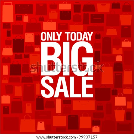 Big sale background with shopping bags pattern. - stock vector