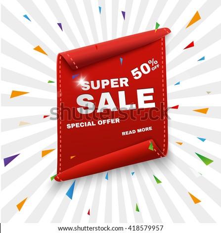 Big Sale Banner.Super Sale Banner Ribbon. Vector Illustration - stock vector