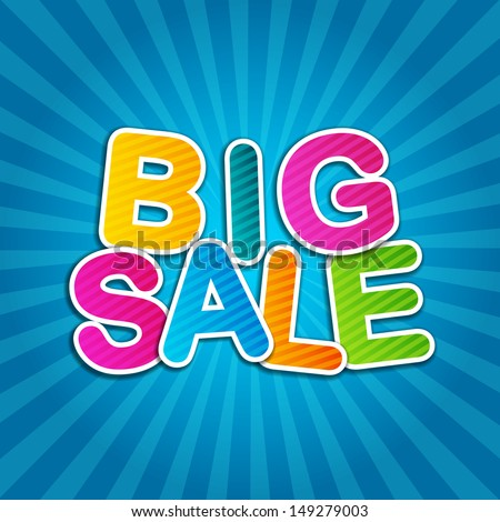 Big Sale Blue Poster - stock vector