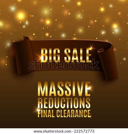Big sale celebration background with realistic curved ribbon. Massive sale. Reductions. Final clearance. Vector illustration - stock vector