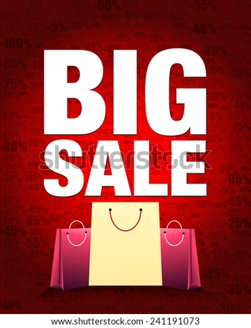 Big sale design and shopping bag with percentage red gradient background. - stock vector