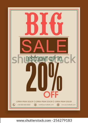 Big sale flyer, banner or template design with discount offer for your business. - stock vector