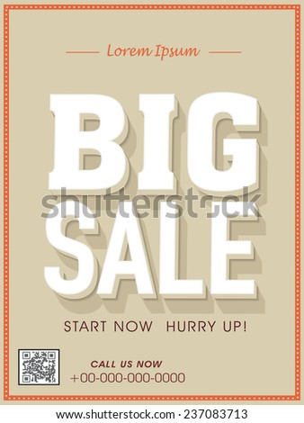 Big sale flyer, poster, banner or template. - stock vector