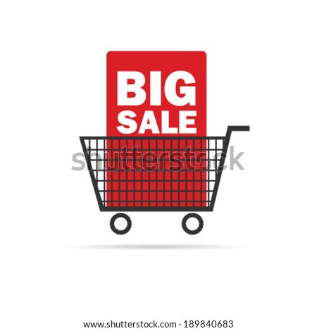 big sale icon with basket color vector illustration - stock vector