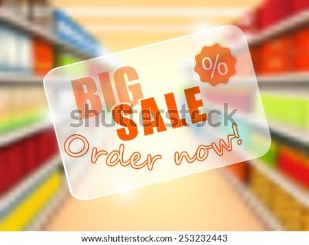 Big sale in supermarket, concept poster. vector - stock vector
