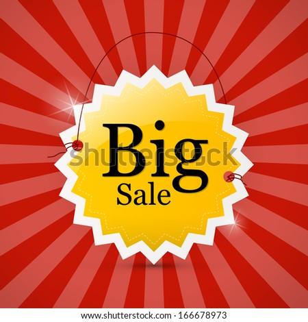 Big Sale Orange Label on Red Retro Background - stock vector
