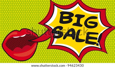big sale over thought bubble with mouth, pop art. vector - stock vector