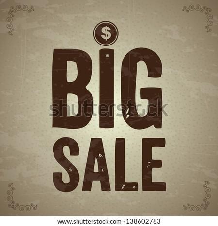 Big sale over vintage background vector illustration - stock vector