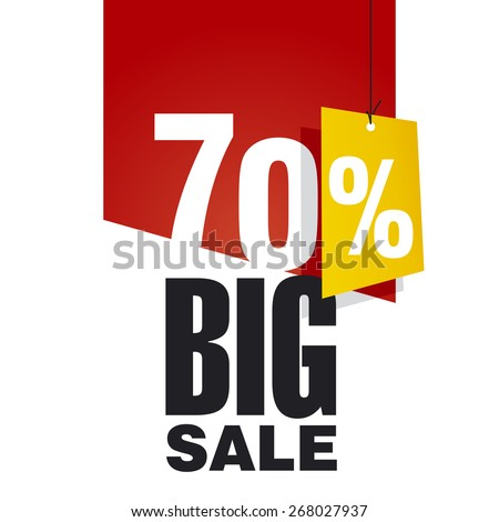 Big Sale 70 percent off red background - stock vector