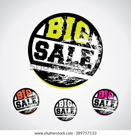 Big sale price tag, catchy circle design with grungy ink splatter  - stock vector