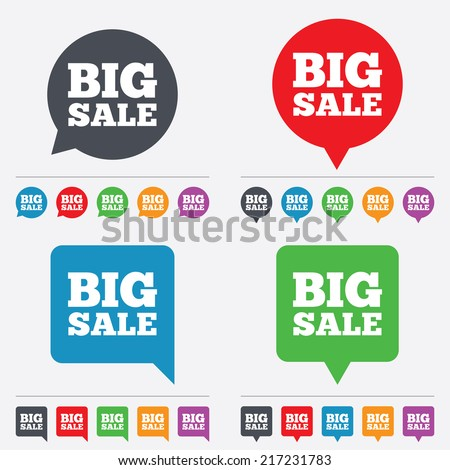 Big sale sign icon. Special offer symbol. Speech bubbles information icons. 24 colored buttons. Vector - stock vector