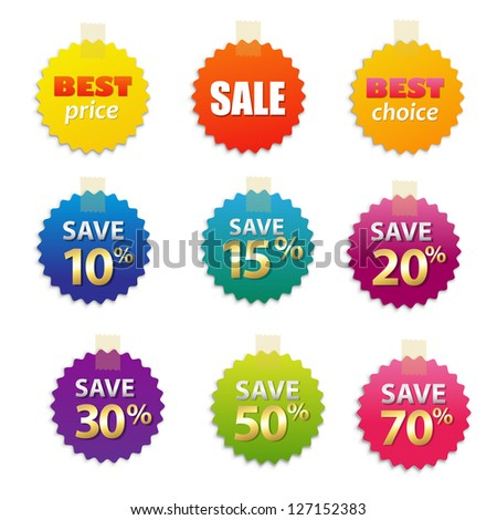 Big Sale Tags, Isolated On White Background, Vector Illustration - stock vector