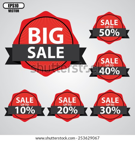 Big Sale tags with Sale up to 10 - 50 percent text on tags, labels, stickers and symbols with black ribbon - EPS10 Vector.  - stock vector