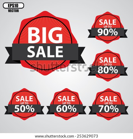 Big Sale tags with Sale up to 50 - 90 percent text on tags, labels, stickers and symbols with black ribbon - EPS10 Vector.  - stock vector