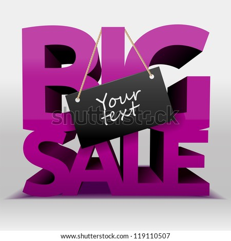 Big sale text with copy space, vector - stock vector