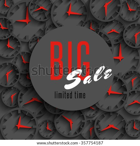 Big sale time poster mockup, clock hands, shop advertising banner, special discount advantage business gray background - stock vector