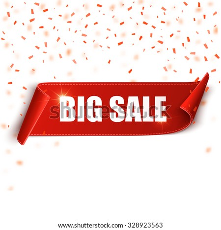 Big sale vector banner. Red realistic curved paper scroll. Ribbon with confetti.  - stock vector