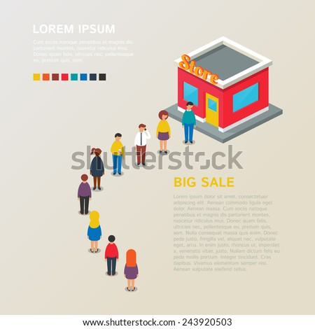 Big sale. Vector illustration, isometric style  - stock vector