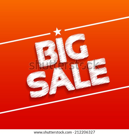 Big sale-white inscription on a red background, flyer - stock vector