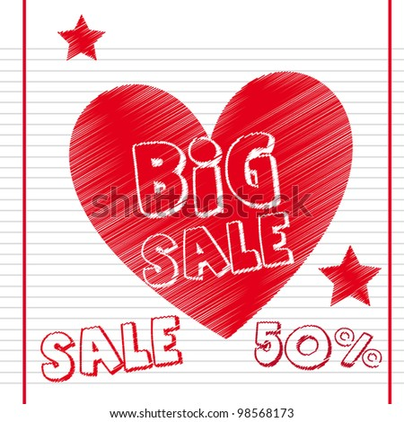 big sale with heart over notebook paper. vector illustration - stock vector
