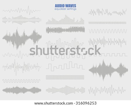 Big set audio equalizer technology, pulse musical. Futuristic equalizer waves for the HUD interfaces - stock vector