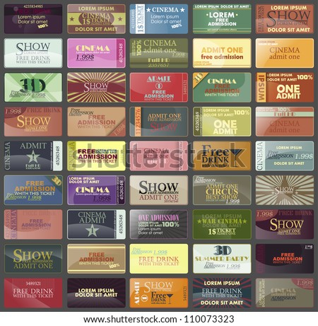 big set:card or label and isolated tickets in different styles. Vector. - stock vector