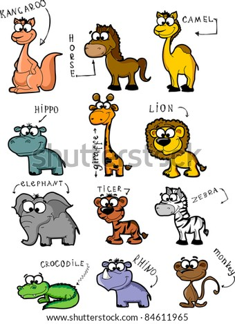 Big set cartoon animals - stock vector