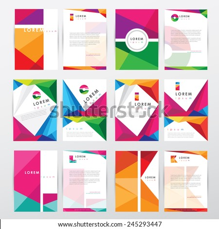 big set collection of trendy geometric triangular design style letterhead and brochure cover template mockups for business visual identity with letter logo elements- polygonal style - stock vector