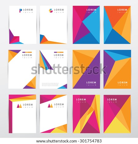 Big set collection of trendy geometric triangular design style letterhead and brochure cover template mockups for business visual identity with abstract logo elements- multicolored low polygon style - stock vector