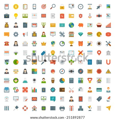Big set 144 Flat design icons,Digital Marketing, Social Media, Financial, Learning, Business and other Vector symbols for website and promotion banners.  - stock vector