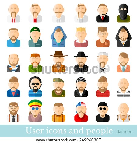 big set flat icon people.people icon. young old occupation nationalities - stock vector