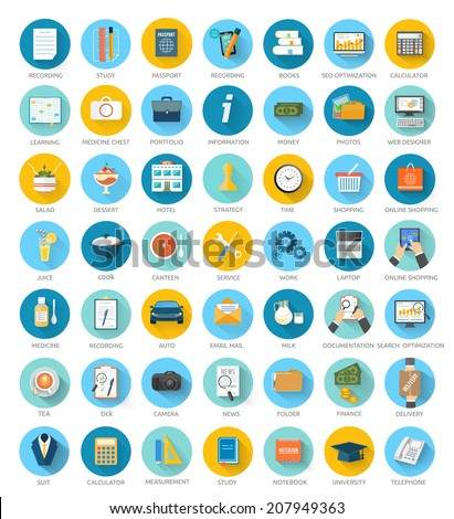 Big set for web and mobile applications of office work, social media, seo search optimization, online shopping, analysis of documents purse time is money, marketing concepts items icons in flat design - stock vector