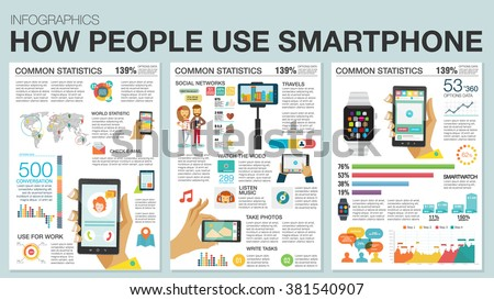 Big set Infographic with charts, icons, map, diagrams, other elements. How people use smartphone and SmartWatch: social networks, camera, looking news, email, video, picture. Flat modern style. - stock vector